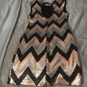 Shiny midi black gold and silver dress